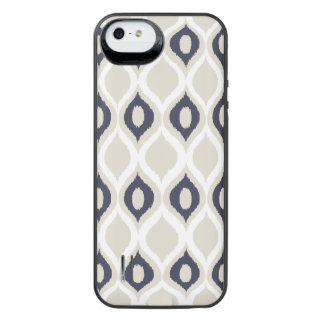 Navy And Ivory Geometric Ikat Tribal Print Pattern iPhone SE/5/5s Battery Case