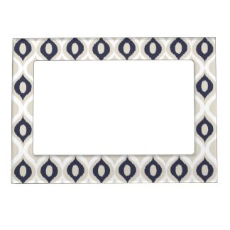 Navy And Ivory Geometric Ikat Tribal Print Pattern Magnetic Frame