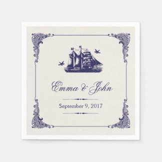 Navy and Ivory Vintage Ship Wedding Monogram Disposable Napkin
