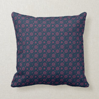 Navy and Purple Dots Vintage Pattern Fabric Pillow
