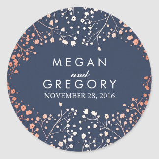 Navy and Rose Gold Baby's Breath Wedding Classic Round Sticker