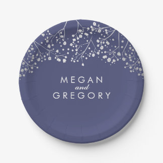 Navy and Silver Baby's Breath Wedding 7 Inch Paper Plate