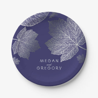 Navy and Silver Fall Leaves Wedding 7 Inch Paper Plate