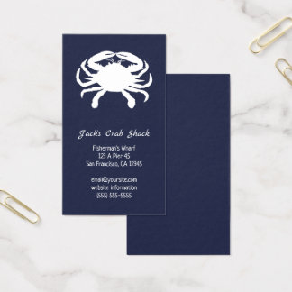 Navy and White Crab Silhouette Seafood Restaurant Business Card