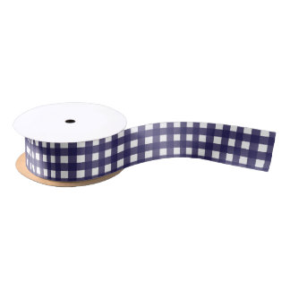 Navy and White Gingham Medium Satin Ribbon