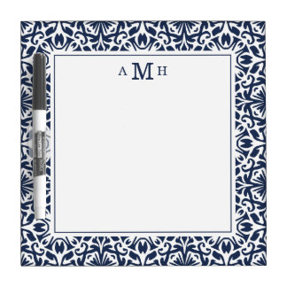 Navy and White Mediterranean Monogram Dry Erase Whiteboard