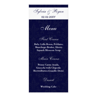 navy and white photo Wedding Menus Personalised Rack Card