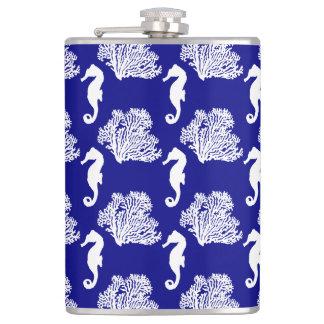 Navy And White Seahorse Coastal Pattern Hip Flask