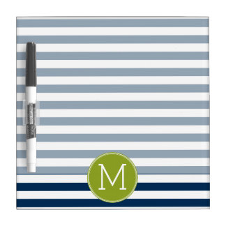 Navy and White Striped Pattern Green Monogram Dry Erase Board