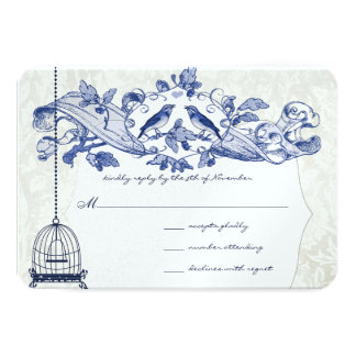 Navy Bird Cage Oak Vintage Birds Scroll Wedding Card