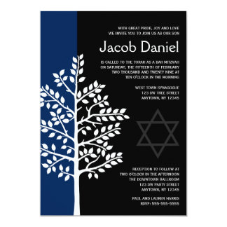 Navy Black Tree of Life Bar Mitzvah Invitations