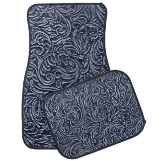 Navy Blue 3 Vintage Tile Look Rustic Floor Mat