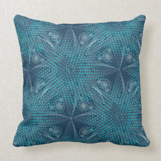 Navy blue abstract tribal snowflake with halftones cushion