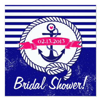 Navy Blue Anchor Nautical Bridal Shower Invitation