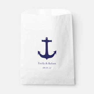 Navy Blue Anchor Nautical Wedding Favour Bags