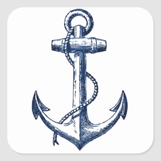 Navy Blue Anchor Square Sticker