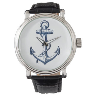 Navy Blue Anchor Wristwatches