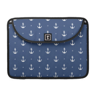 Navy Blue Anchors Sleeve For MacBooks