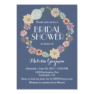 Navy Blue and Floral Bridal Shower Invitation