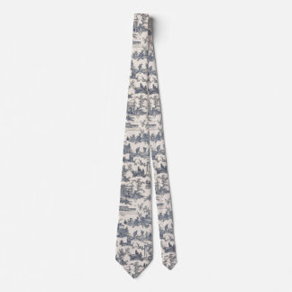 Navy Blue and Ivory French Toile Neck Tie