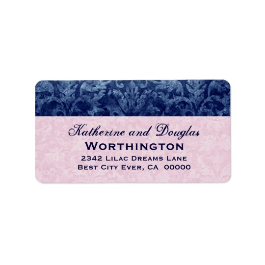 Navy Blue and Pink Grunge Damask Wedding V5 Address Label