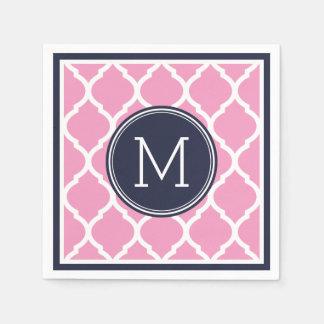 Navy Blue and Pink Quatrefoil Wedding Monogram Paper Napkin