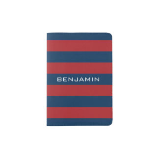 Navy Blue and Red Rugby Stripes with Custom Name Passport Holder