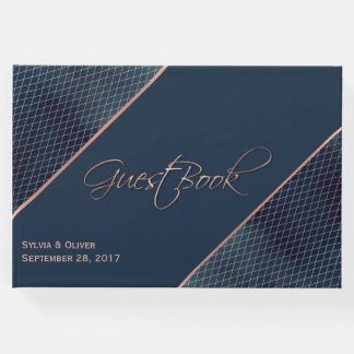 Navy Blue and Rose Gold Custom Guest Book