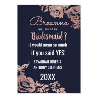 Navy Blue and Rose Gold Floral Bridesmaids Card