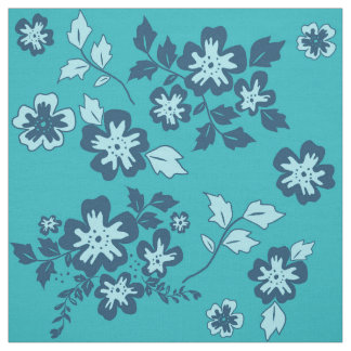Navy Blue and Teal Floral Pattern Fabric