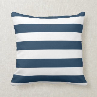 Navy Blue and White  Bold Stripes Throw Pillow