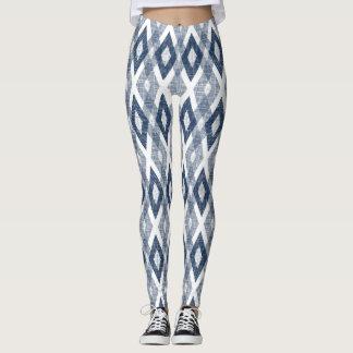Navy Blue and White Grunge Harlequin Pattern Leggings