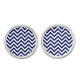 Navy Blue and White Large Chevron ZigZag Pattern Cufflinks