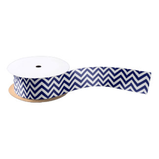 Navy Blue and White Large Chevron ZigZag Pattern Satin Ribbon