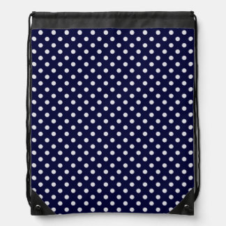 Navy Blue and White Polka Dot Pattern Drawstring Bag