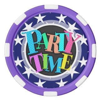 Navy Blue and White Stars; Patriotic Poker Chip Set