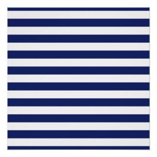 Navy Blue and White Stripe Pattern Poster