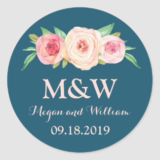 Navy Blue Blush Pink Floral Monogram Wedding Round Sticker