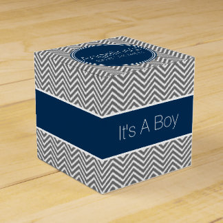 Navy Blue & Charcoal Gray Chevrons Baby Shower Favour Box