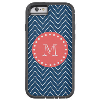 Navy Blue Chevron Pattern | Coral Monogram Tough Xtreme iPhone 6 Case