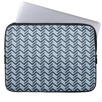 Navy Blue Chevron Pattern Laptop Sleeve