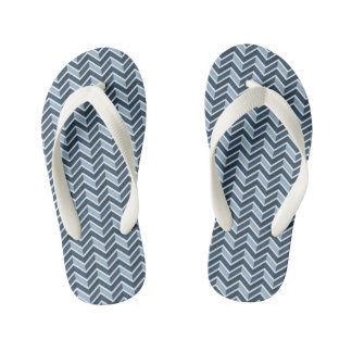 Navy Blue Chevron Pattern Thongs