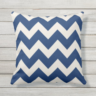 Navy Blue Chevron Stripes | Cushion