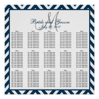 Navy Blue Chevron Wedding Seating Chart 150 Poster
