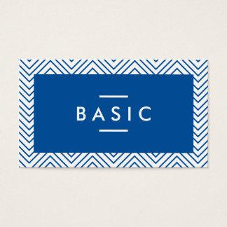 Navy blue chic chevron stripes pattern cool modern business card