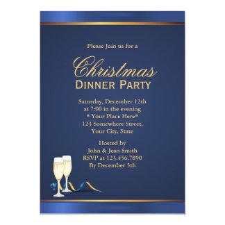 Navy Blue Christmas Dinner Party Invitations