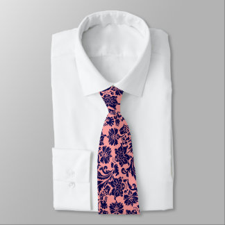 Navy-Blue & Coral Der Floral Damasks Tie