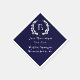 Navy Blue Custom Monogram Graduation Napkins Disposable Napkin
