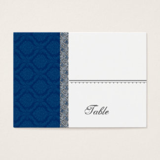 Navy Blue Damask Place Card - Wedding Party