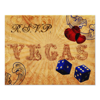 navy blue dice Vintage Vegas wedding rsvp Custom Invitations
